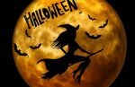 witch on broom in front of moon for Halloween